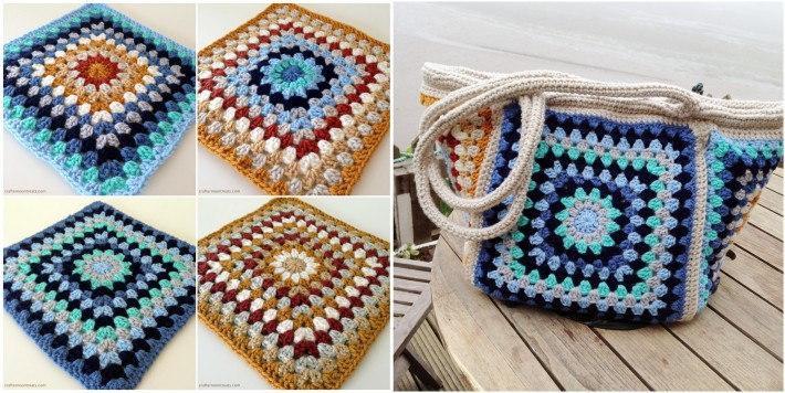 Retro granny square pattern and stash bag
