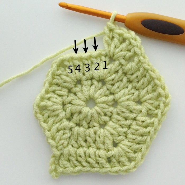 Round 3 dc side stitches solid crochet hexagon motif
