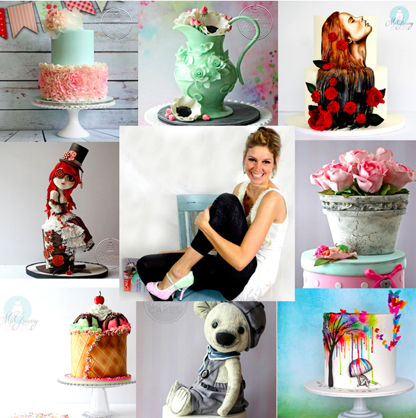Collage of Cake Decorator Shawnna McGreevy with examples of her work