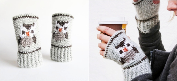 Tapestry Crochet patterns Owl Mitts