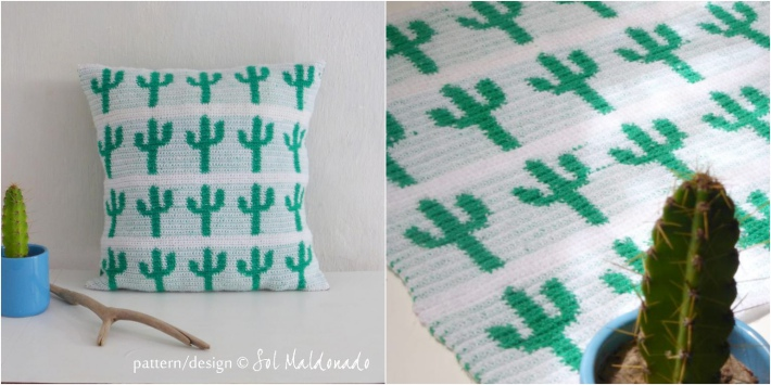 Tapestry crochet cushion pattern with cactus theme