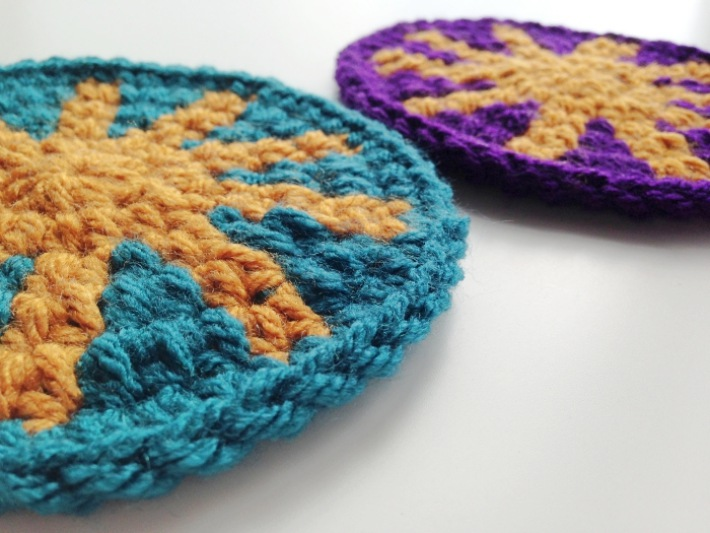 Tapestry crochet tutorial aztec coaster finished