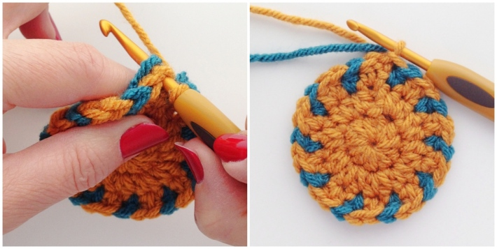 Tapestry crochet tutorial aztec coaster step eleven