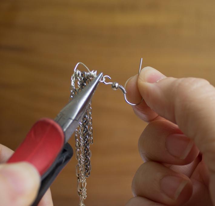 add ear wire to earring