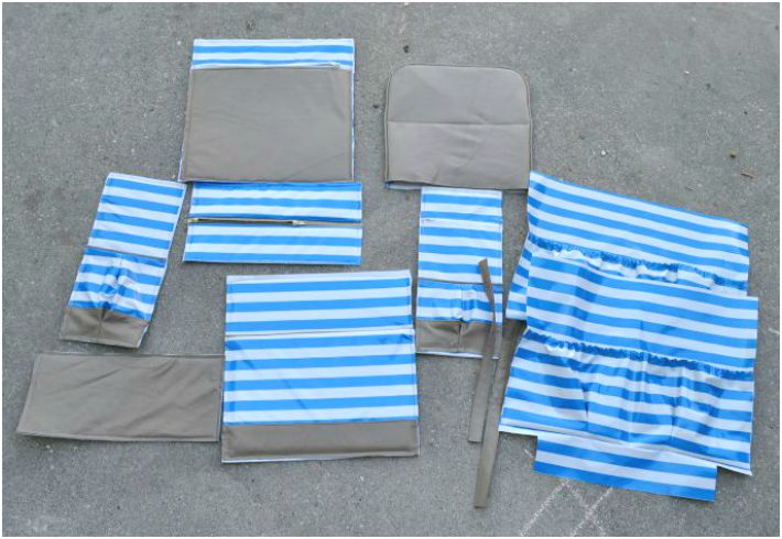 Cut pieces for making a DIY diaper bag