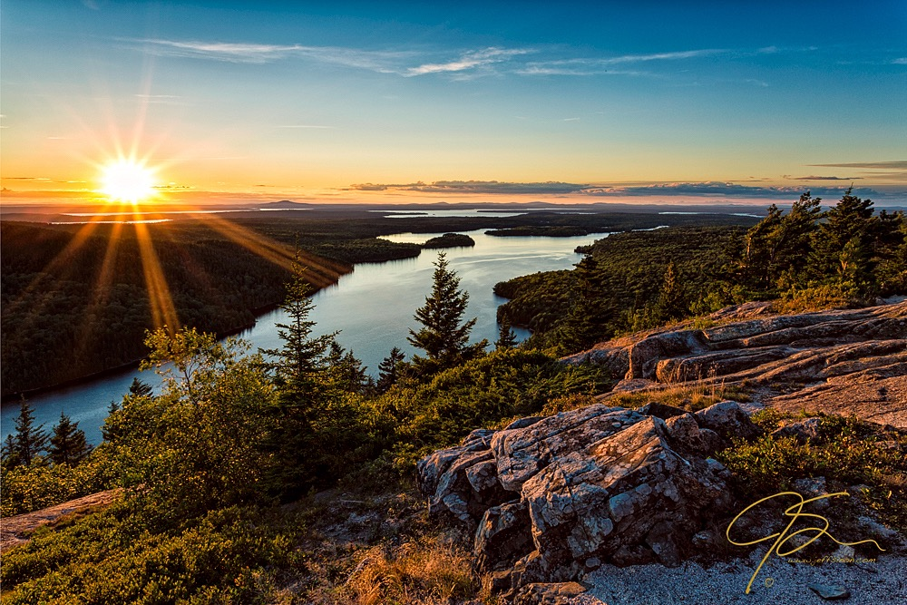 Sunset from Beech Mountain in Acadia National Park