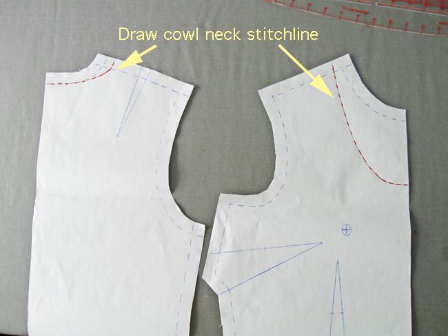 draw cowl neckline stitch line on blouse sloper pattern pieces