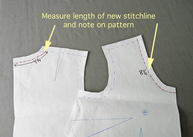 write neckline measurements on blouse pattern pieces