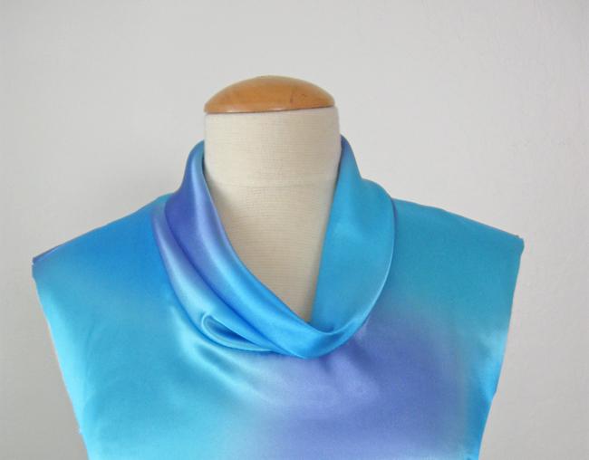 blue charmeuse cowl collar neckline