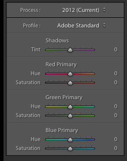 Lightroom's camera calibration tab