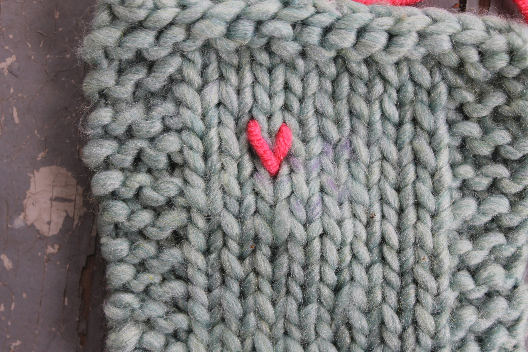 One completed duplicate stitch