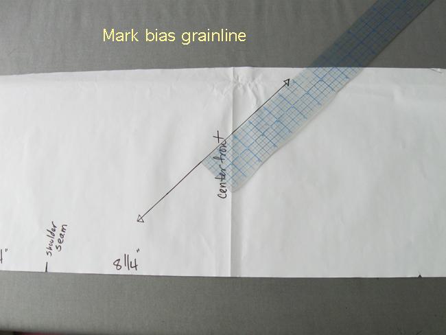 Mark bias grainline on the cowl collar pattern piece
