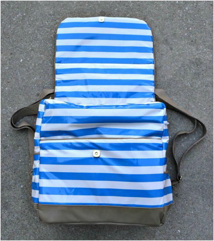 Back of DIY leather diaper bag