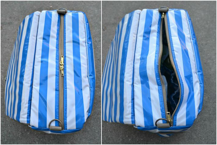 Top view of striped leather diaper bag