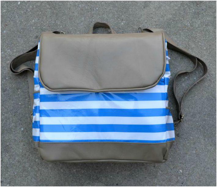 Striped leather diaper bag