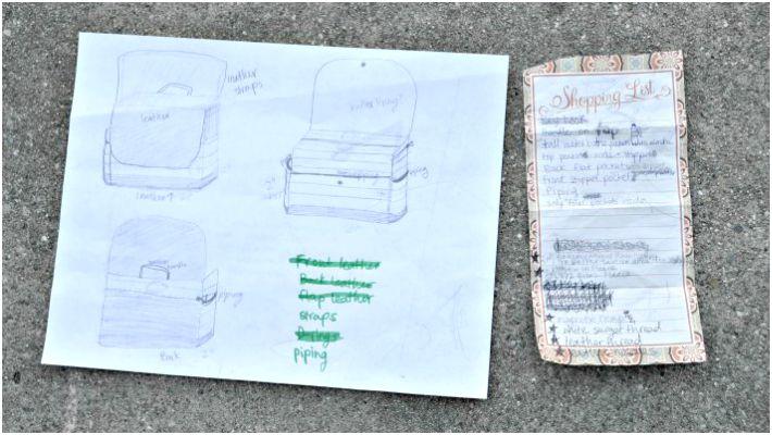 Sketch for making DIY leather diaper bag