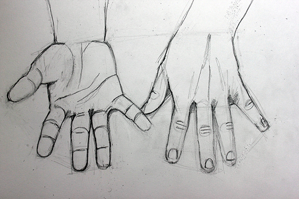 Drawing outlines of hands