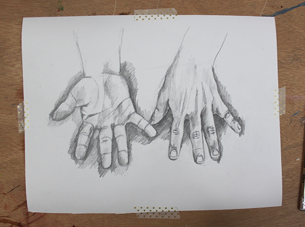 Beginning to shade hand drawing