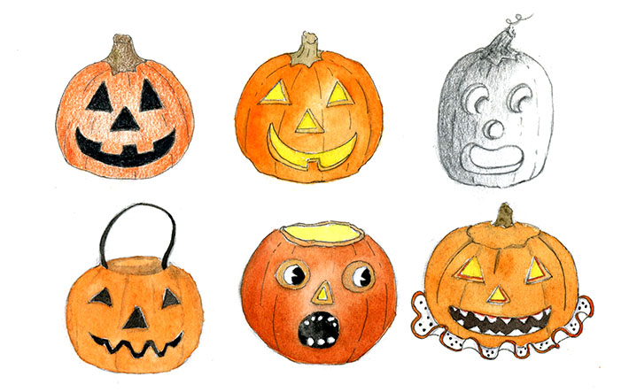 drawing many different jack o'lantern faces