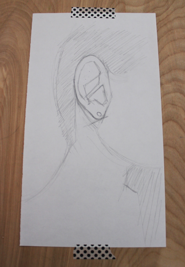 General interior of the ear drawn in blocky shapes