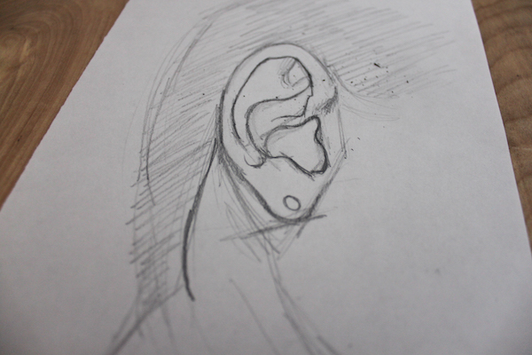 Adding Curved Details to a Drawing of an Ear
