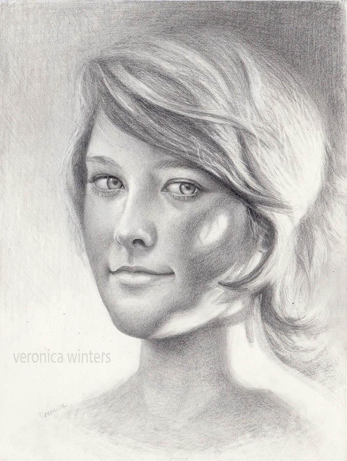 drawing in graphite of a female face