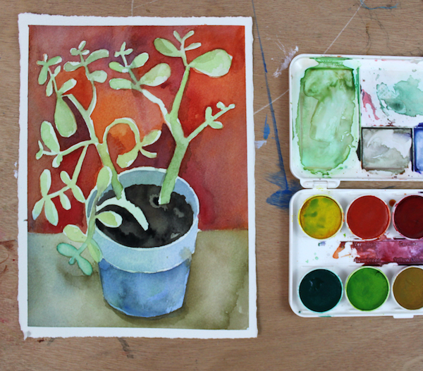 Refined painting that includes a light wash over plant leaves