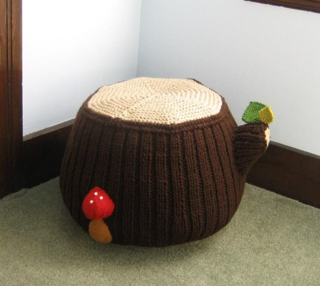 Knit Tree Stump Ottoman Knitting Pattern