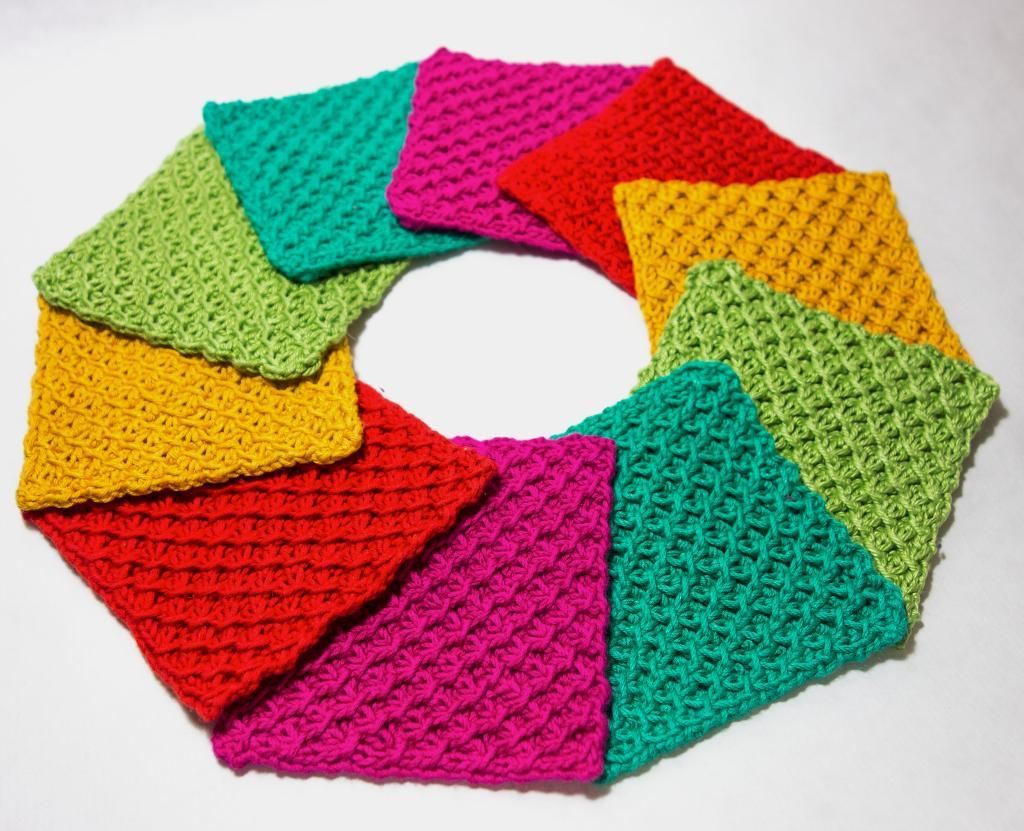 Rainbow Knit Coasters