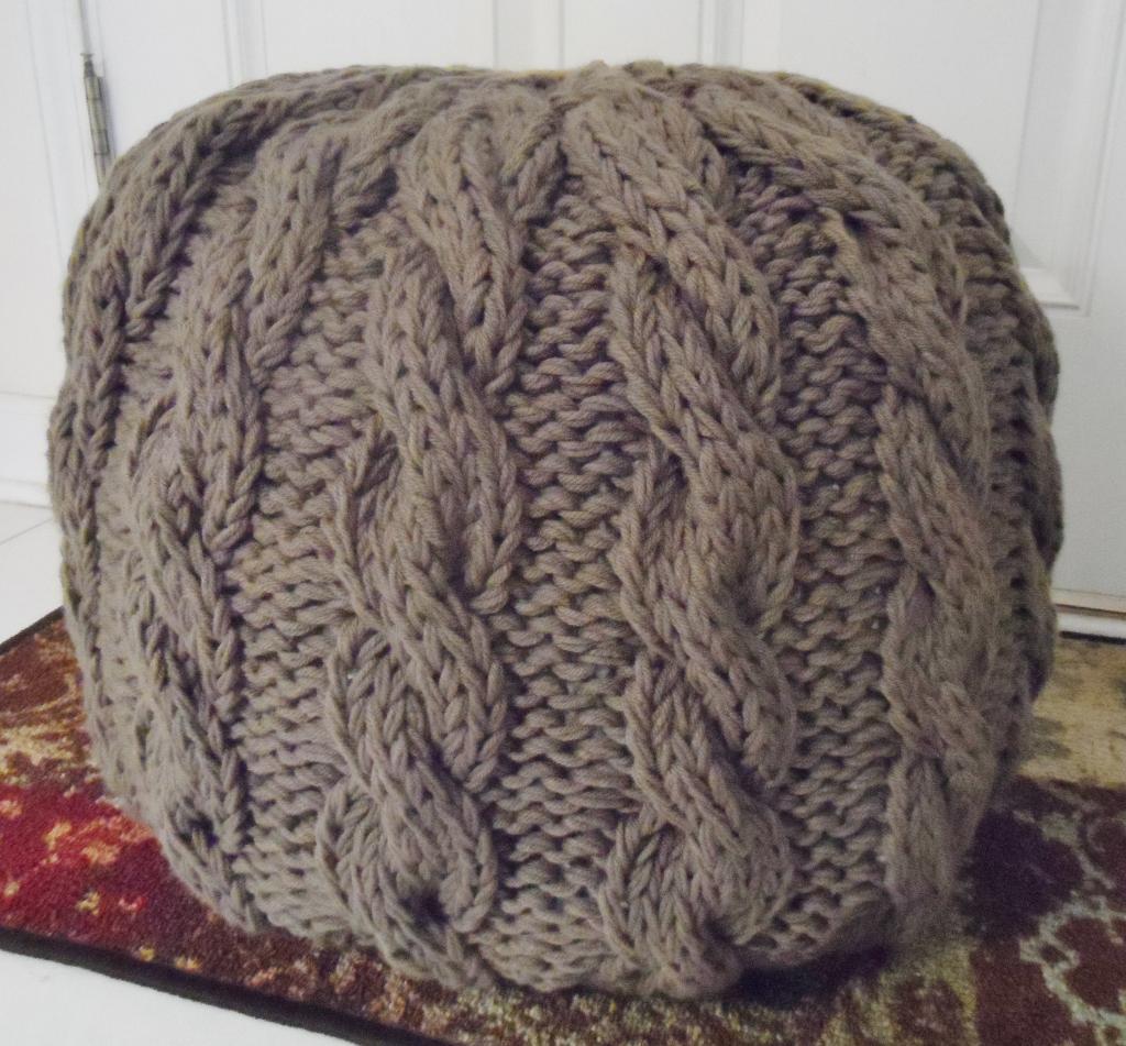 Cable Knit Pouf Ottoman Knitting Pattern