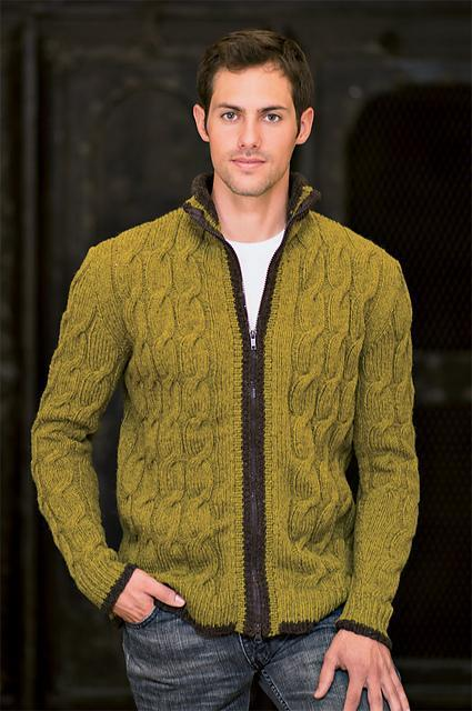 Men's Cardigan with Cables