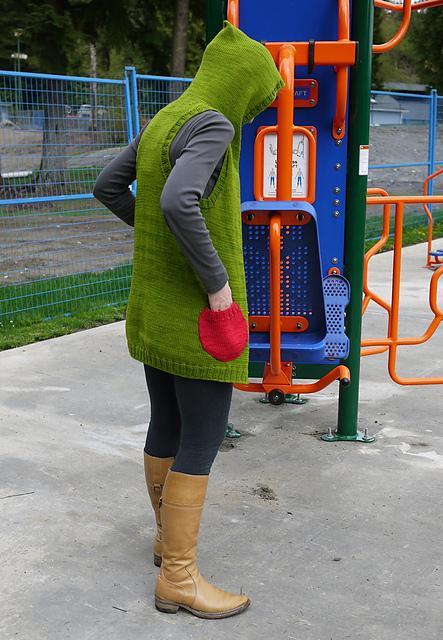 Colorful hooded vest with pockets