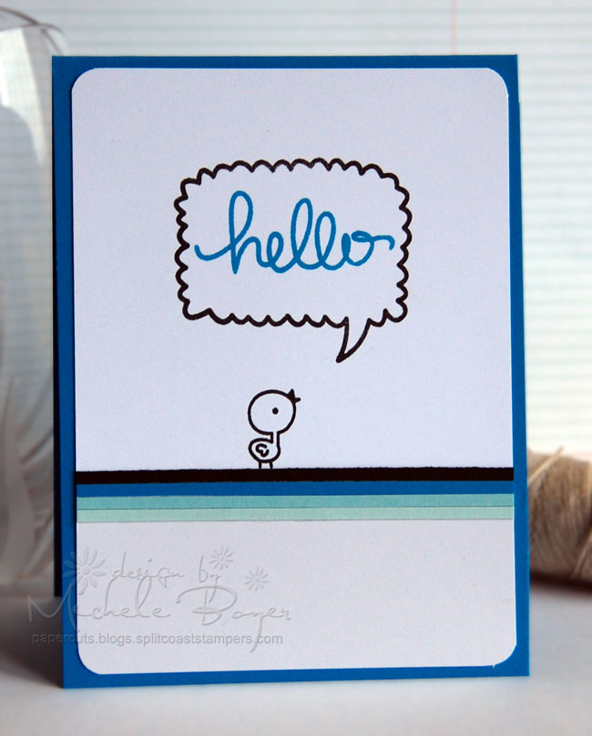 Speech bubble and monochromatic card stock strips