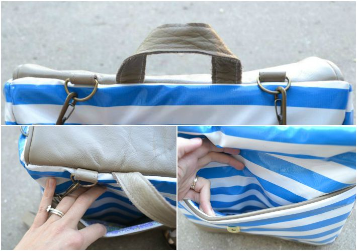 Details of leather diaper bag