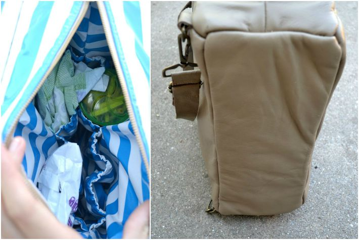 Photo showing inside of DIY diaper bag