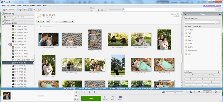 photo organization software Picasa showing organized, tagged photographs