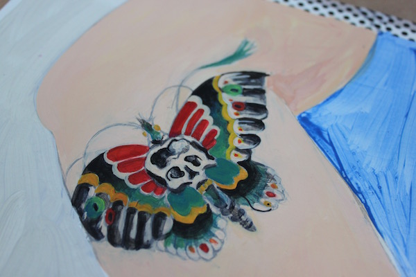 A third layer of paint on tattoo