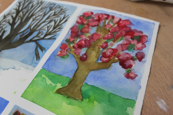 Finished painting of a tree in spring