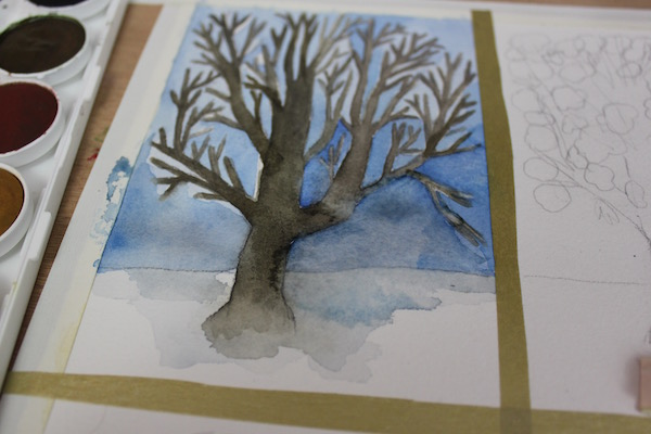 Painting of a tree in winter