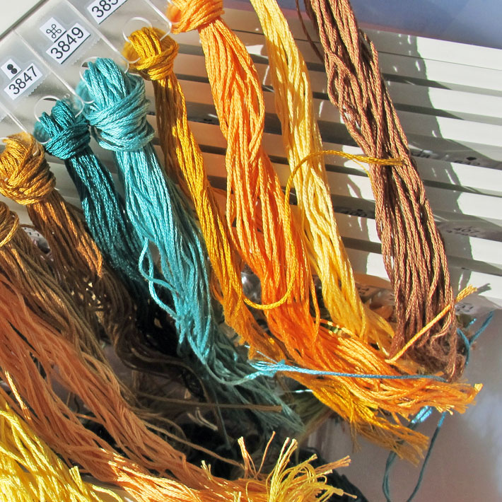 pre-cut embroidery threads prepared for a project