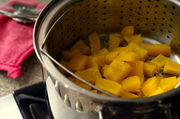 Steaming Pumpkin on the stovetop