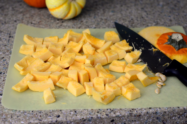 Chopped Up Pumpkin, Ready to Cook