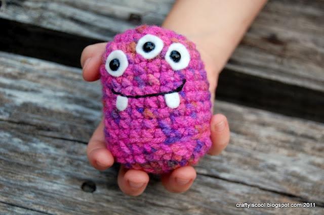 purple stitch amigurumi monster