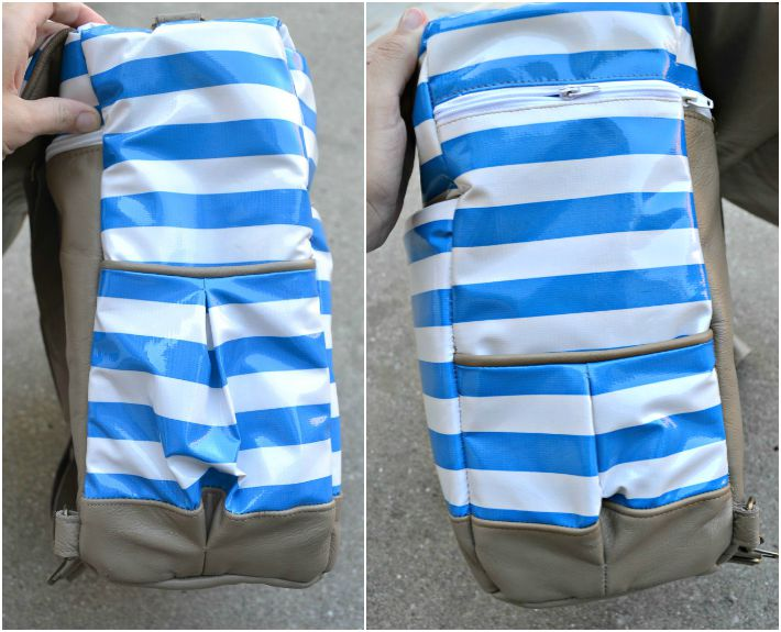Side of striped leather diaper bag