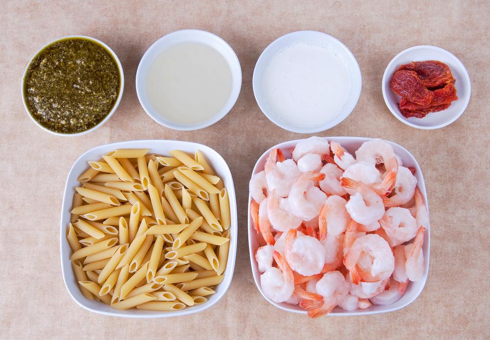Mise En Place for Pesto Shrimp Pasta