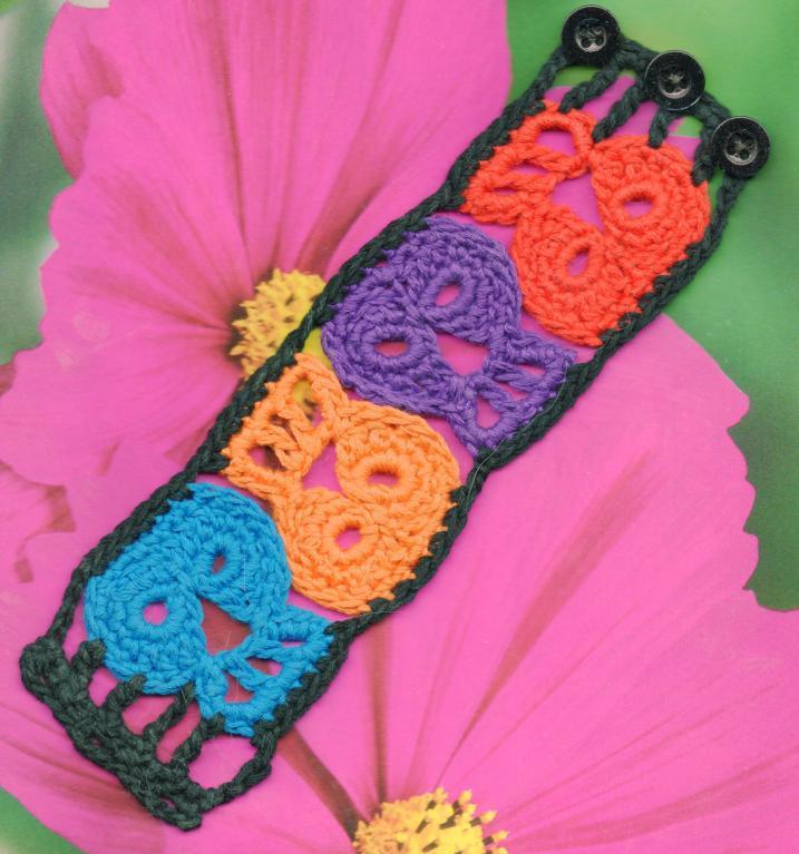 sugar skull crochet bracelet