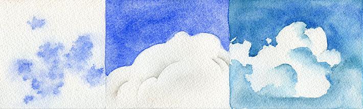 cumulus cloud watercolor studies