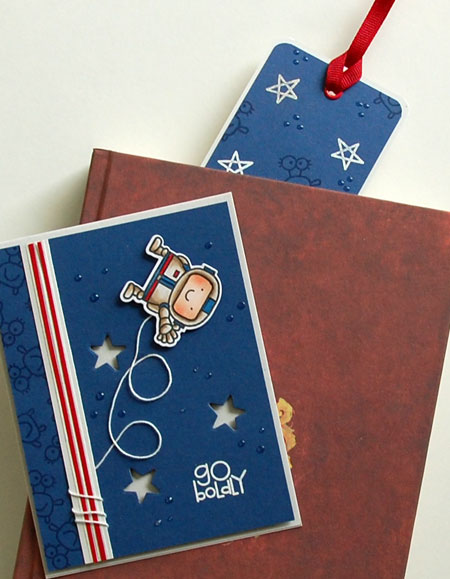 Photo of card with coordinating embossed bookmark