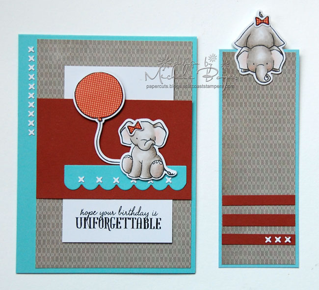 Card with coordinating peek-a-boo bookmark