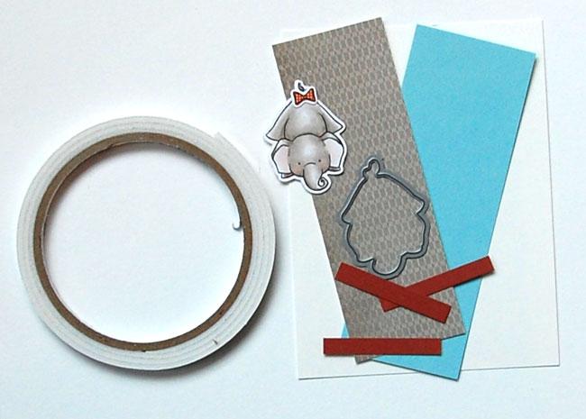 Supplies for Peek-a-boo bookmark